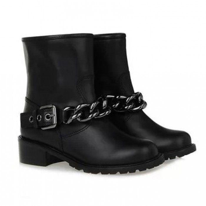 Ботинки женские черные с цепочкой