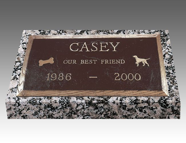 With our Rectangle Pet Headstones, you can memorialize your loved best friend forever.   All our Grave Markers are made to industry standards and regulations. Memorials.com has created a 5 Star Customer Service Rating Program for you to feel comfortable when purchasing from us. We are members of many trade organizations.