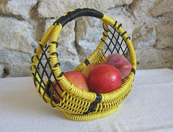 plastic wire fruit basket mid century