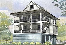 Elevated raised piling and stilt house plans coastal for Elevated house plans on pilings