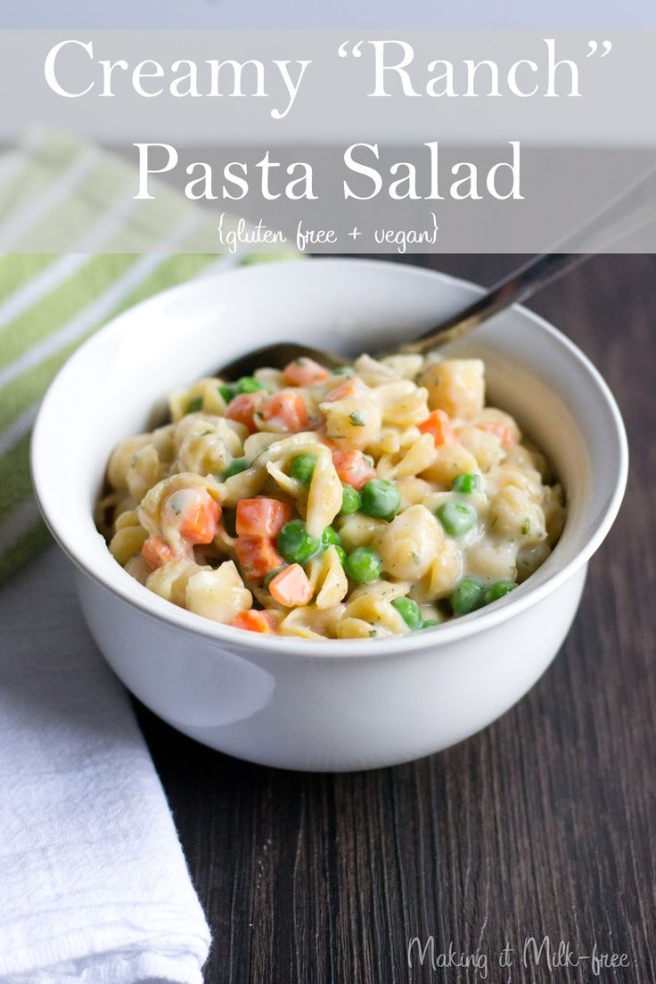 Creamy Ranch Pasta Salad {vegan + gluten free} from Making it Milk-free: