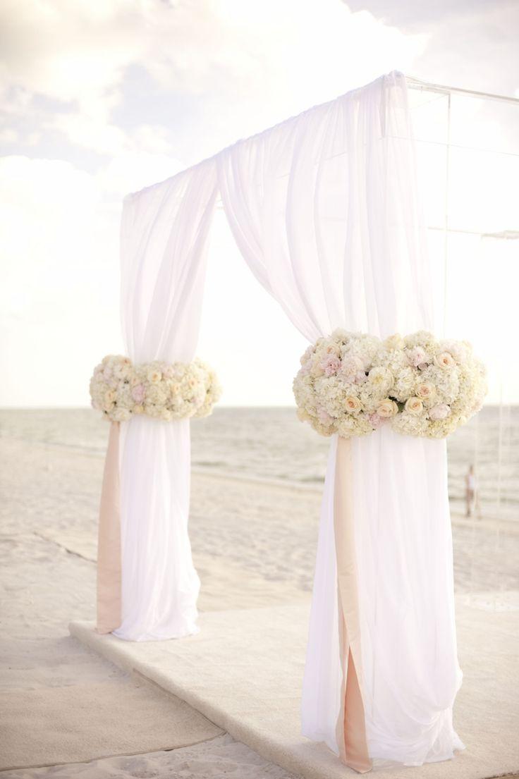 A Glamorous Silver u0026 Blush Beach Wedding