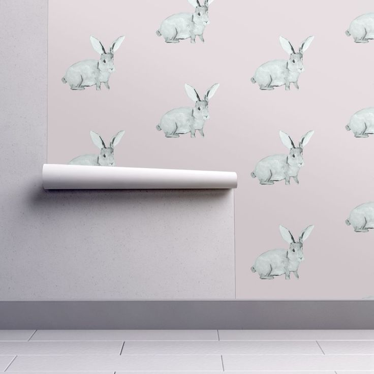Isobar Durable Wallpaper featuring Bunny Blush by traceyharveydesigns | Roostery Home Decor