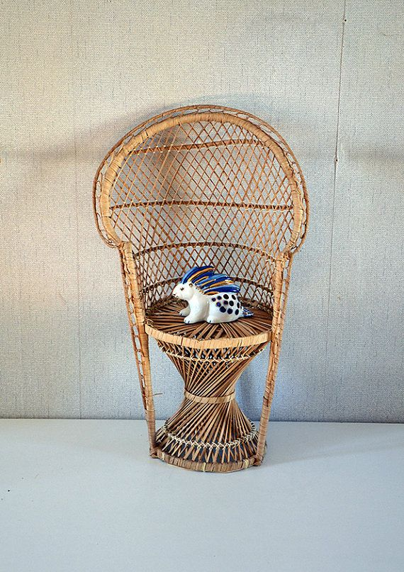 Peacock Style Wicker Chair Planter from 1970s / Plant Stand Chair / Doll or child Chair.