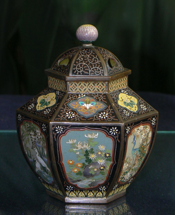 Rare Form Japanese Cloisonne Enamel Jar Meiji Era