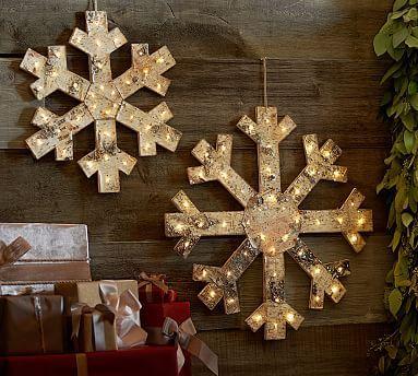 Lit Birch Glitter Snowflake
