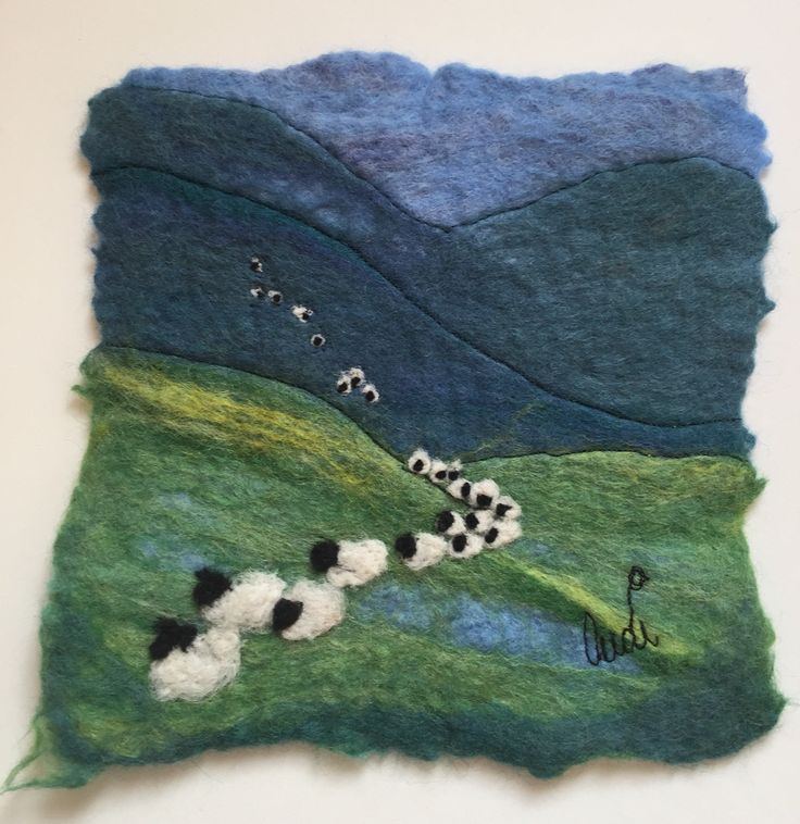 Sheep felt painting by Audrey James