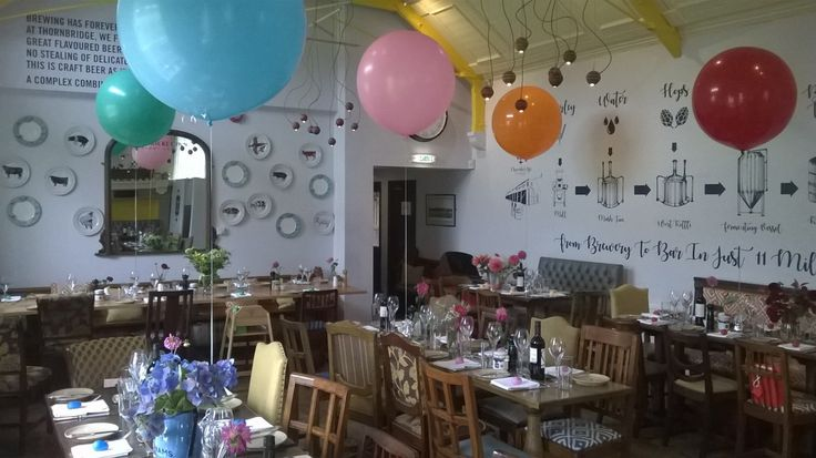 These amazing colourful balloons were delivered to The Cricket  Inn, Sheffield. As you can see every balloon is matching with the flower centre piece, so lovely.
