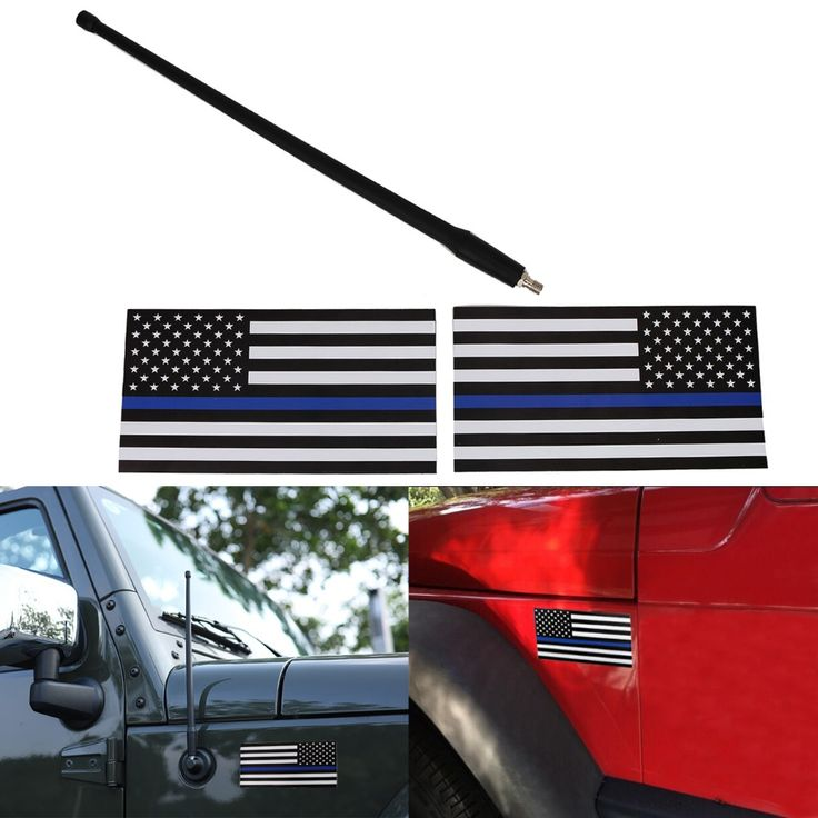 "13"" Antenna For Jeep Wrangler JK + 2pcs Magnetic United States Police Flags Decal / America Flag Vehicle Bumper Sticker #CE077"
