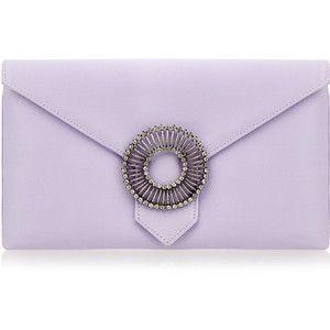 Wilbur & Gussie Edith Lilac Silk Large Envelope Clutch Bag