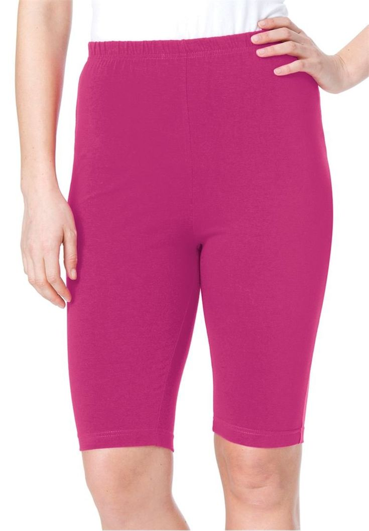 Women's Plus Size Bike Shorts In Comfy Stretch Fabric Bright Berry,M