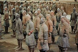 A Terracotta-army of more than 10.000 soldiers and other persons and animals near the grave of the first Qin-emperor at Xi'an, Shaanxi Province, China, in 1974 explored by Chinese farmers, who were digging a well.