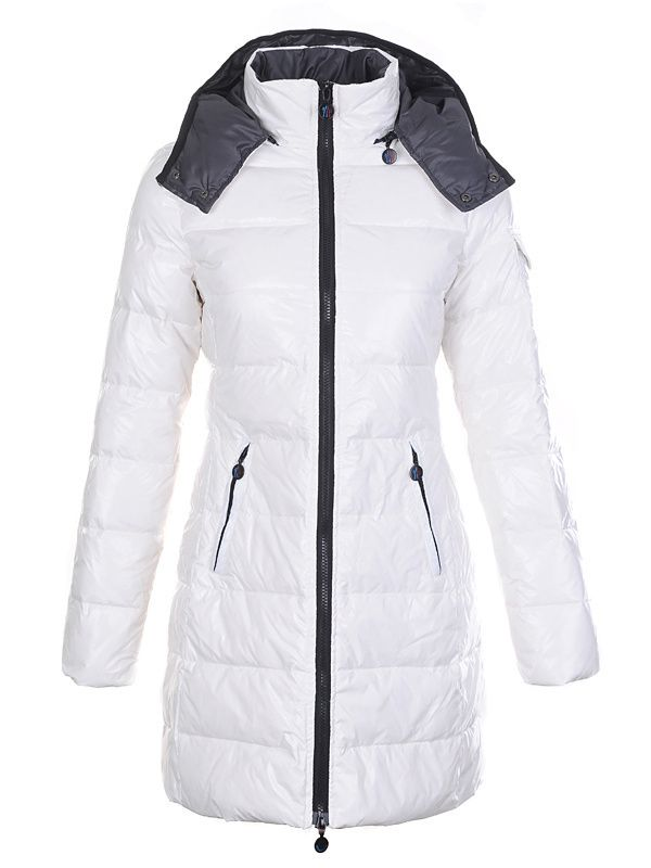 Moncler Coat For Women White With Mock Collar Long Style MC1077