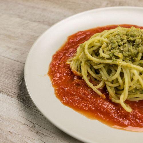Spaghetti in Tomato Sauce and Lentils