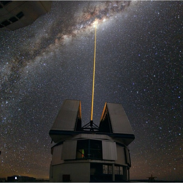 A laser shot towards the milky ways center