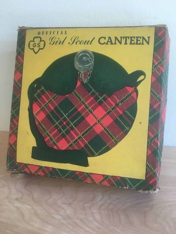 Vintage Girl Scouts Water Canteen Plaid Cloth Cover w Carry Strap & Original Box