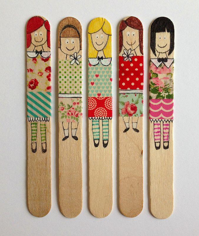 Washi Tape Stick Puppets