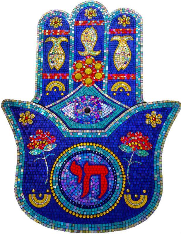 Hamsa Mosaic by Dyanne Williams http://www.dyannewilliamsmosaics.com/Hamsa/hamsa.html