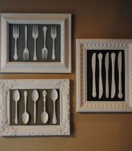DIY Wall Art Decor   Misc silverware. Mismatched frames. All spray painted a beautiful cream color.