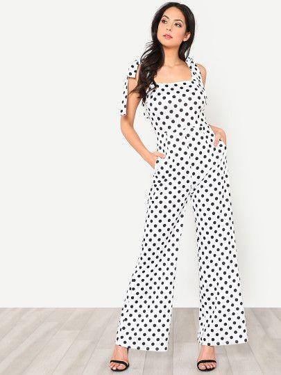42e34a28b8e9 Shop Self Tie Shoulder Wide Leg Polka Dot Jumpsuit online. SheIn offers  Self Tie Shoulder Wide Leg Polka Dot Jumpsuit   more to fit your  fashionable needs.