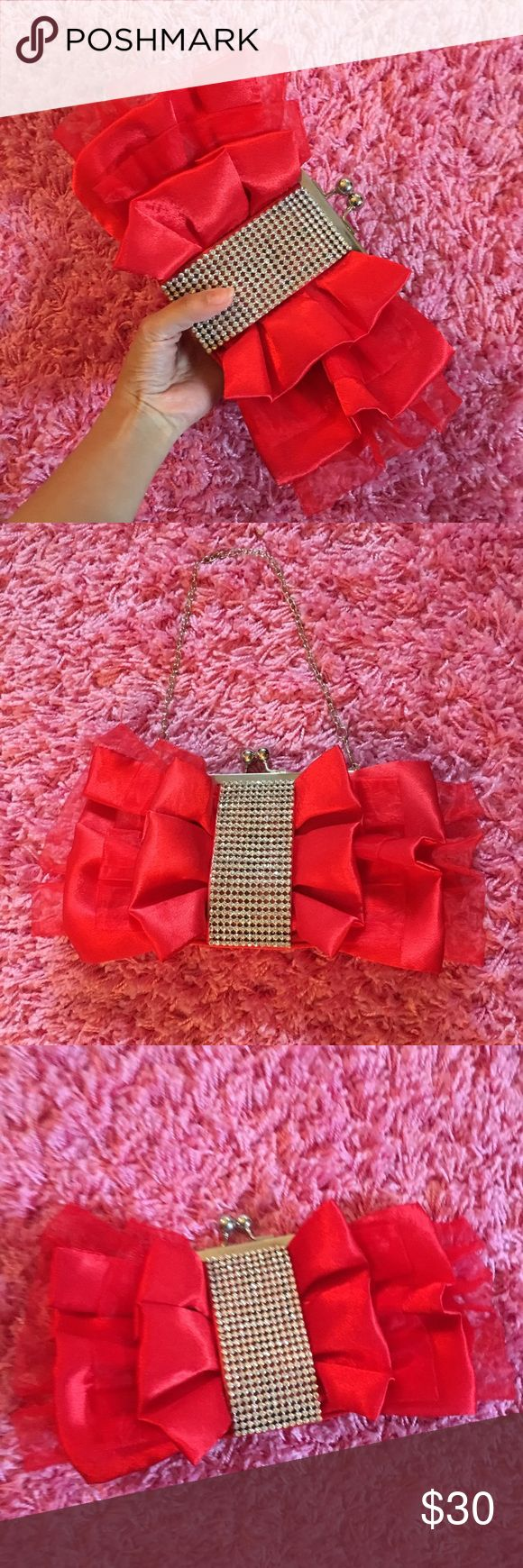 Rhinestone Faux Diamond Bling Red Clutch Bag Perfect for any blingy girls out there! ✨ Shine bright with this super cute bag for any evening out. ❤️😍 Open to offers. No trades. NWOT. (Listed as Kate Spade for exposure) kate spade Bags