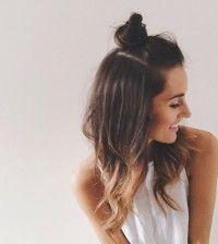 casual half up top knot bun hair bmodish