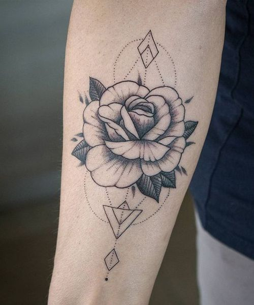 14+ Remarkable Flower Geometric Tattoos on Arm to Get This Year