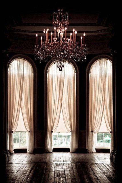 Home:feminine/karen cox....Feminine living - pink chandelier and drapes
