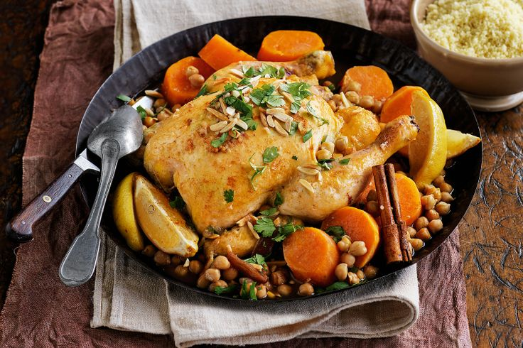 Roast chook gets a Moroccan makeover with fragrant spices, sweet dates and tasty chickpeas in the slow cooker.