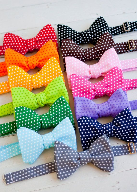 The Beau- men's polka dot collection freestyle self-tie bow ties- choose from 13 shades on Etsy, $38.00