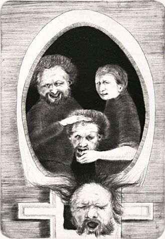 Arne Bendik Sjur. The Family, 1967. Drypoint. Edition of 10. 6 x 4 inches.
