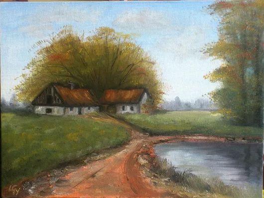 Alföldi tanya Olaj festmény 30 x 40 cm