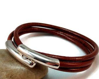 Items similar to Womens leather bracelet - bordeaux licorice leather - burgundy leather - womens bracelet - bangle bracelet - leather bangle - magnetic clasp on Etsy
