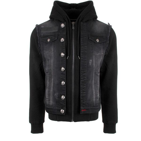 Philipp Plein Division Hooded Denim Jacket (5.470 BRL) ❤ liked on Polyvore featuring men's fashion, men's clothing, men's outerwear, men's jackets, mens hooded jean jacket, mens jean jackets, mens hooded denim jacket, men's embroidered bomber jacket and mens slim fit outerwear