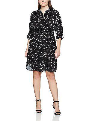 24, Black (Black and White), Evans Women's Floral Print Shirt Dress NEW