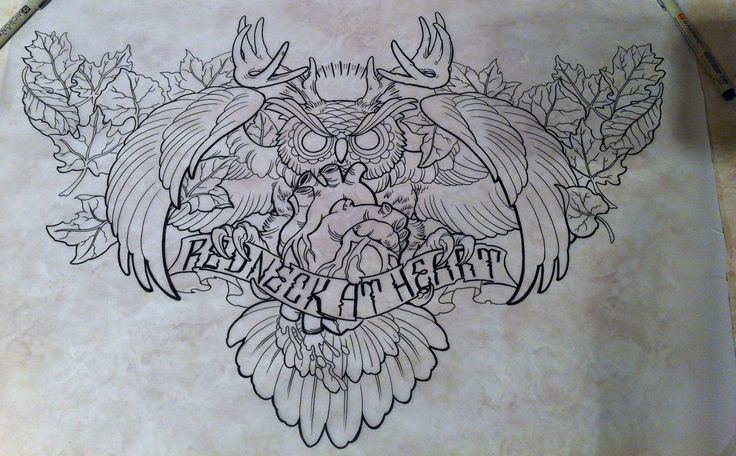 Owl Tattoo. My Newest Design, Huge Chest Piece!