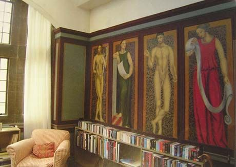 John Maynard Keynes' room in King's College,  decorated by Vanessa Bell and Duncan Grant...
