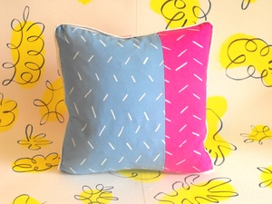 Hand screenprinted cushion with vintage and new fabrics, with metallic piping www.sarikathakorlal.com
