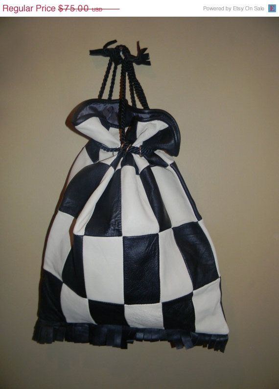Genuine soft Leather Checkered COUTURE Draw by Thebaroqueprincess, $63.75
