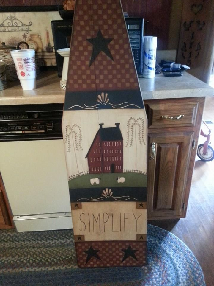 Primitive Wood Painted Ironing Board