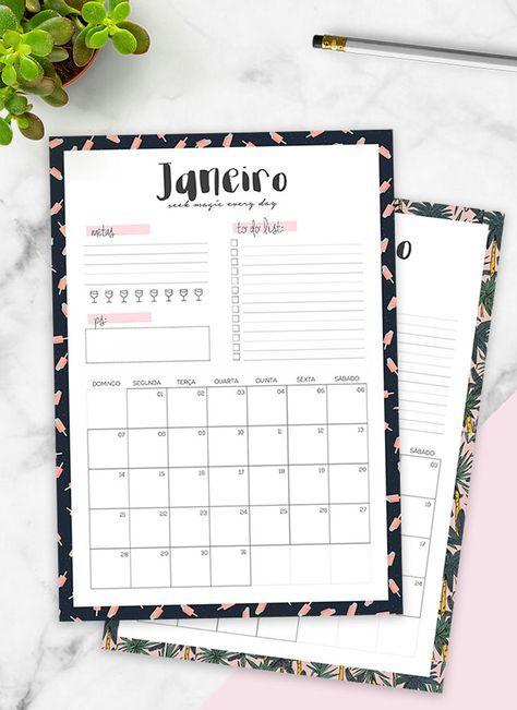 Planner 2018 para imprimir mensal
