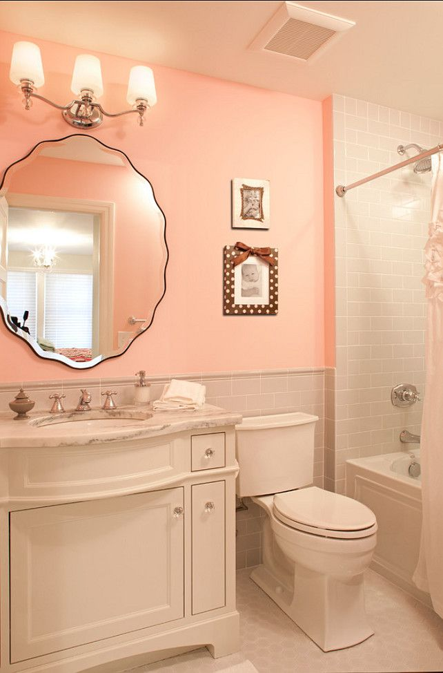Beautiful Light Pink And Gray Bathroom And Beveled Vanity For A Girls  Bathroom