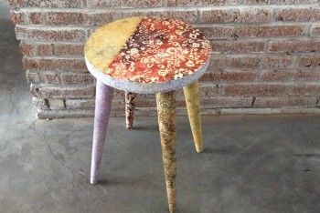 Use of Batik Fabric to cover a wooden stool by HOBO