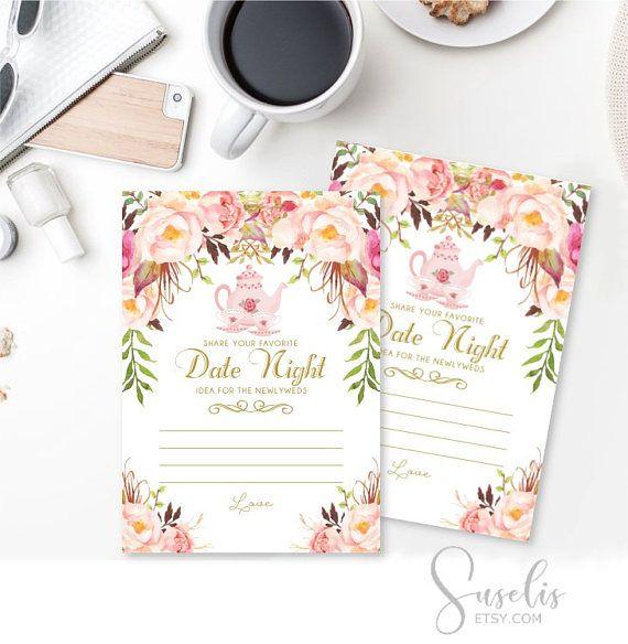 Date Night Idea Card Tea Party Bridal Shower Games Date Night