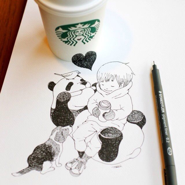 Artista cria adoráveis ilustrações com copo do Starbucks