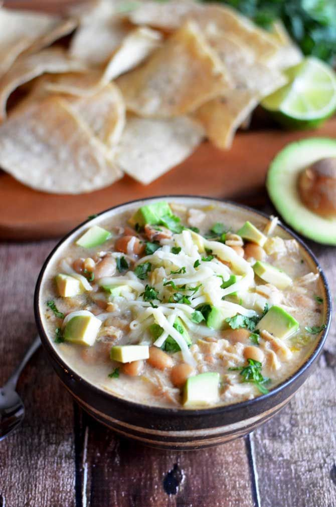 Crock Pot White Bean Chili.  This creamy white chili is absolutely delicious and easy to make in the slow cooker.  Also, it doesn't use any canned soups!   http://hostthetoast.com
