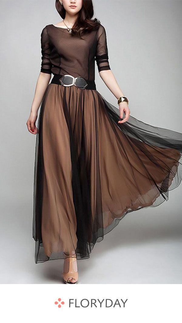 Robe longue à manches longues en A-line et color block   – Fashionista