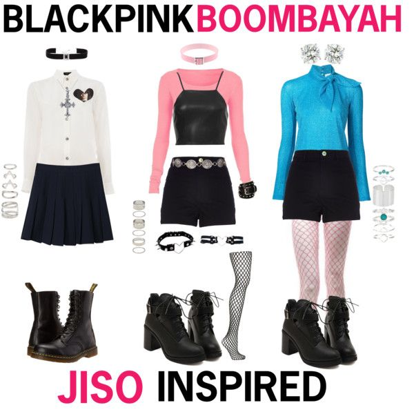 BLACKPINK - BOOMBAYAH (JISO INSPIRED) by kariina-sykes on Polyvore featuring mode, Undercover, Delpozo, WithChic, River Island, Topshop, Dr. Martens, Accessorize, Cuero and Forever 21