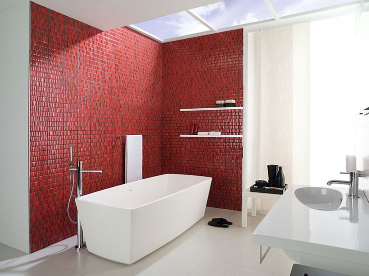 Pop of Red Tile in bathroom