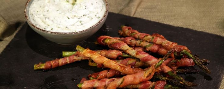 Bacon-Wrapped Asparagus with Herbed Goat Cheese Dip Recipe | The Chew - ABC.com